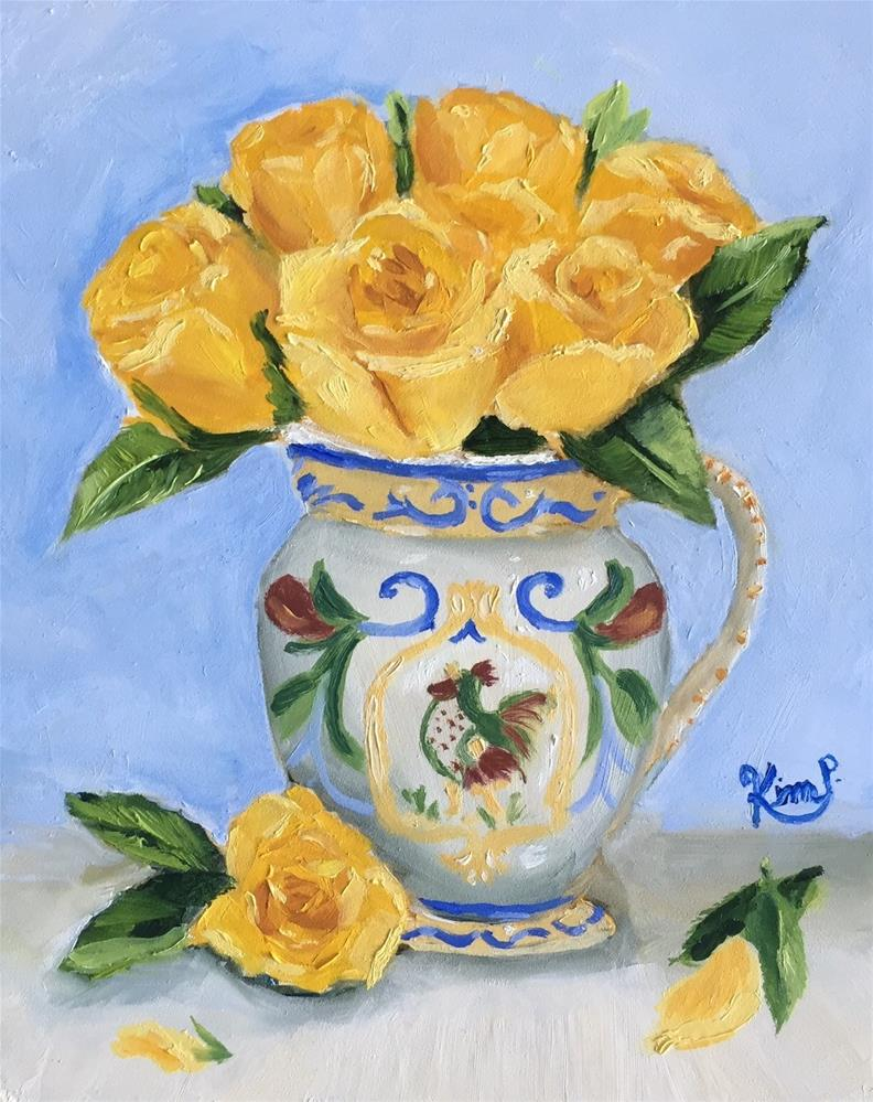 """Yellow Roses in French Country Pitcher"" original fine art by Kim Peterson"