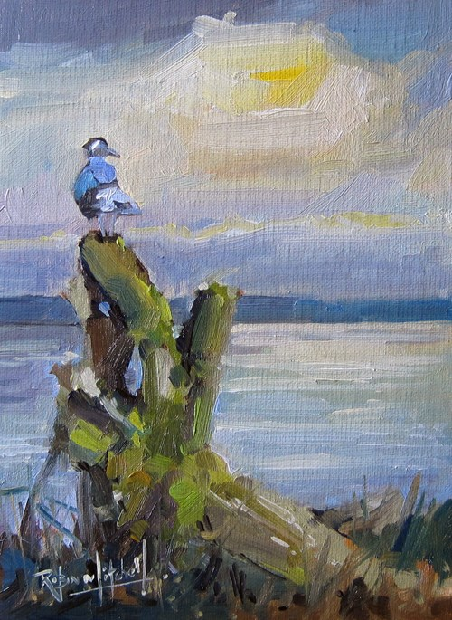 """No779 Watching the Sunset"" original fine art by Robin J Mitchell"