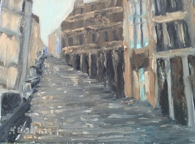 """Cobblestone Street in SOHO"" original fine art by Kathy Collins"