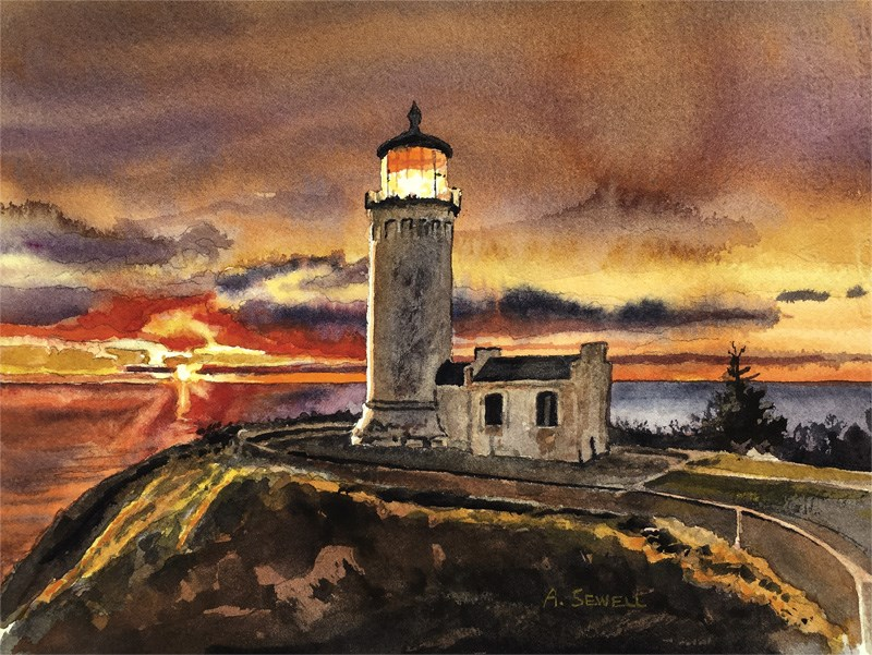 """North Head Light"" original fine art by Andy Sewell"