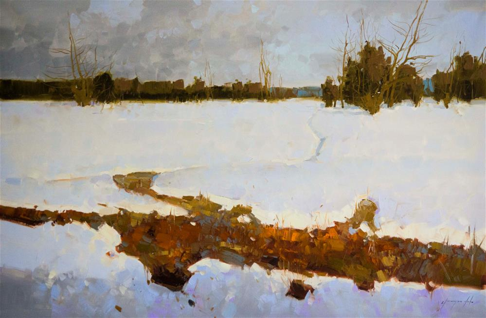 """""""Snow Covered Meadow Original oil Painting on Canvas One of a Kind"""" original fine art by V Y"""