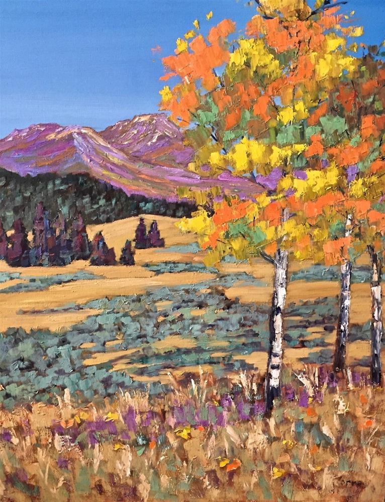 """""""Beaver Meadows Aspens"""" original fine art by Liz Zornes"""
