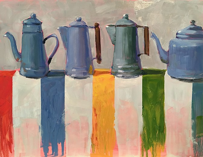 """Blue Coffee"" original fine art by Deborah Newman"