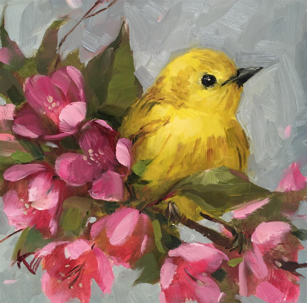 """Yellow Warbler & Blossoms"" original fine art by Krista Eaton"
