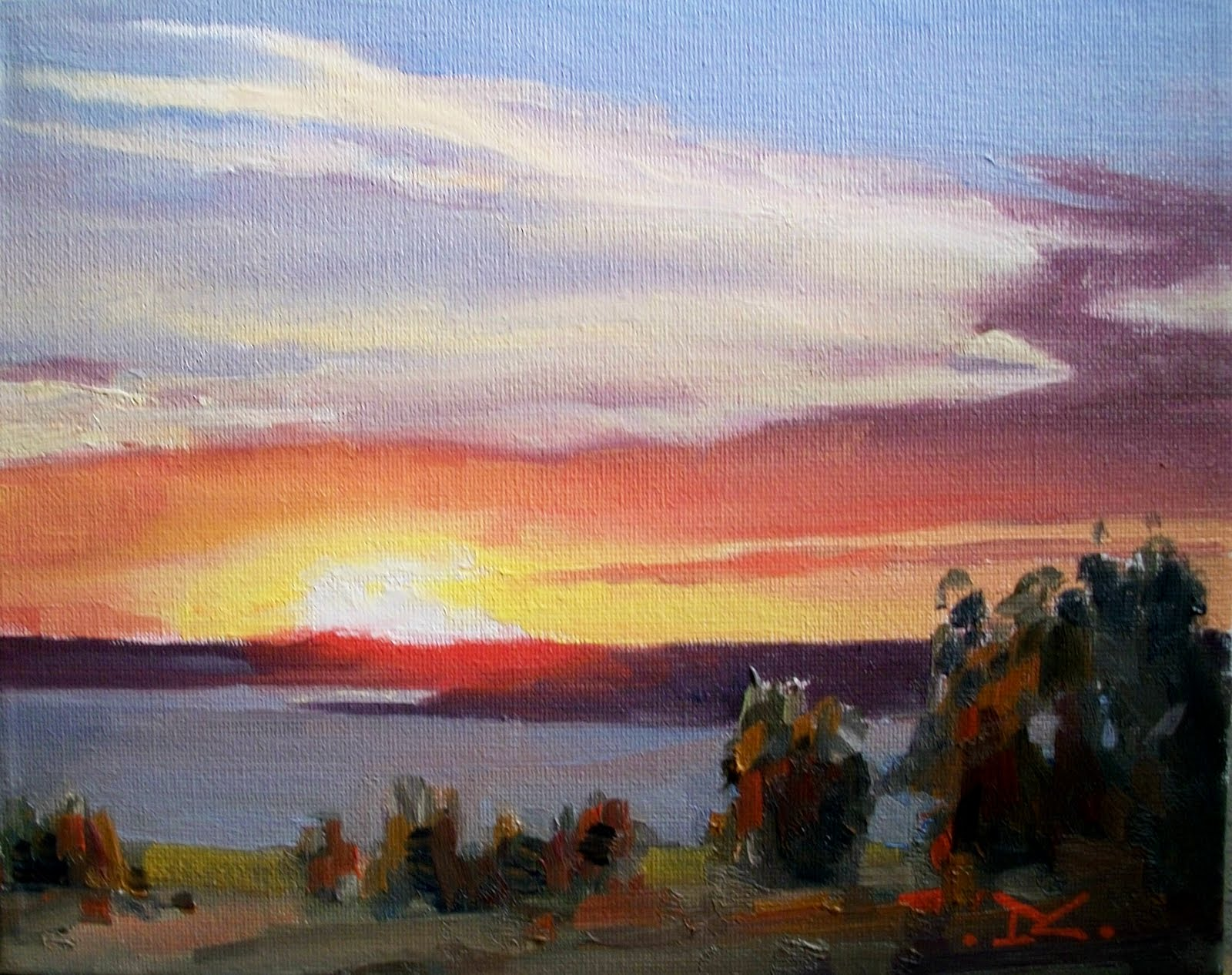 """Sunset # 100"" original fine art by Doug Carter"