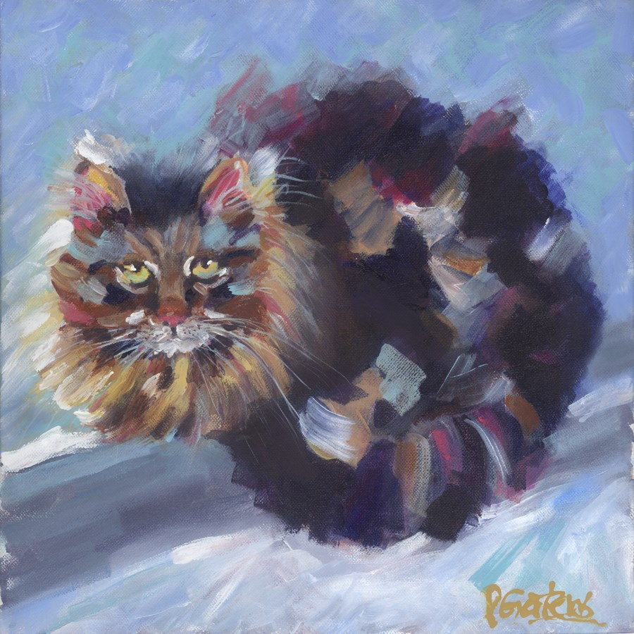 """Purr & Ponder"" original fine art by Pamela Gatens"