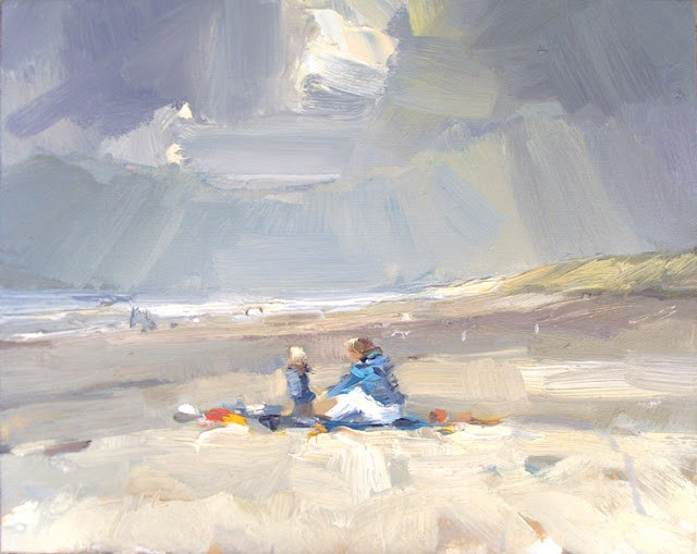 """Seascape winter #30 First Spring visitors on the beach"" original fine art by Roos Schuring"