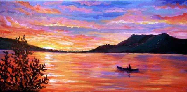 """Midnight Sun on the Yukon River"" original fine art by Jackie Irvine"