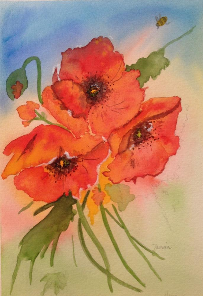 """California Poppies"" original fine art by Marcia Bergtholdt"