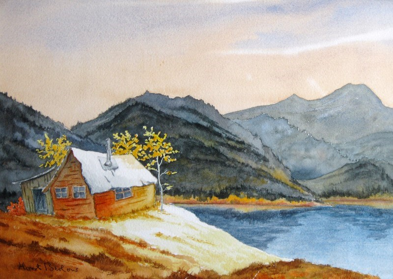 """""""Cabin by the Lake"""" original fine art by Horst Berlow"""
