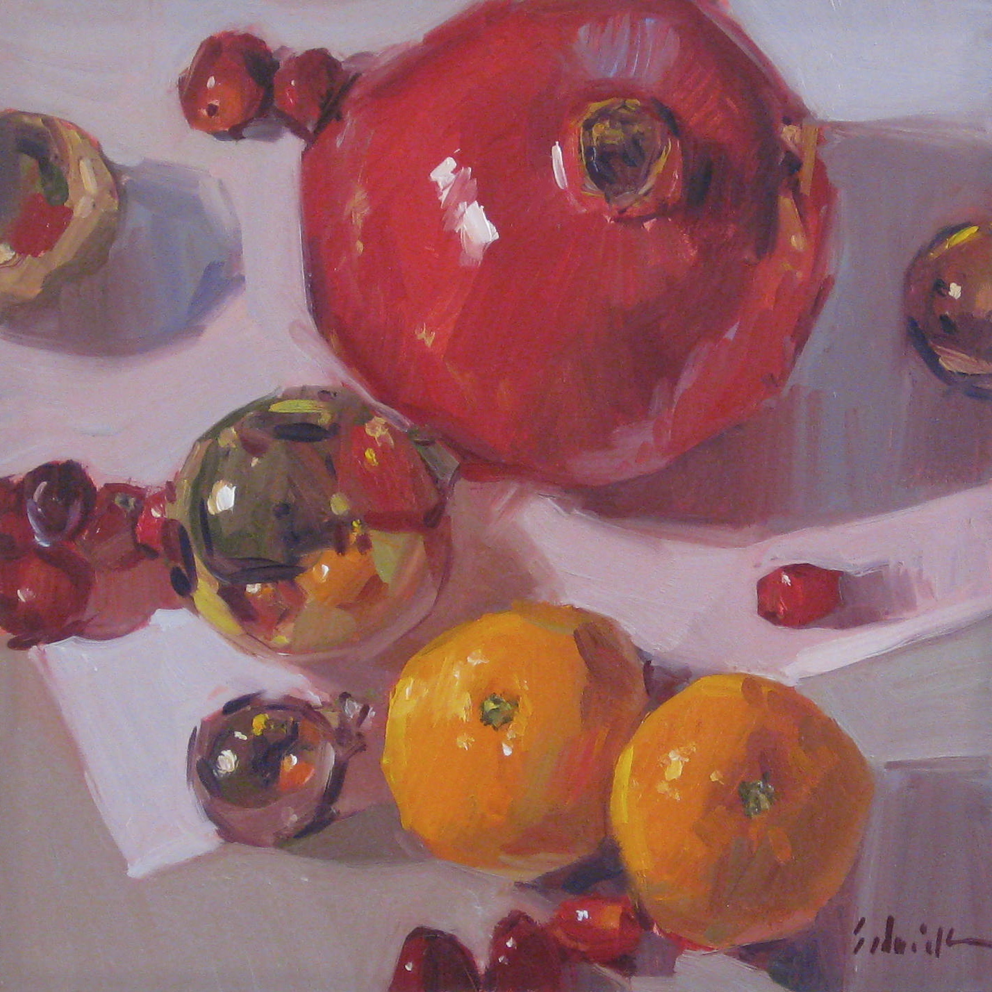 """Pomegranate Orange Christmas"" original fine art by Sarah Sedwick"