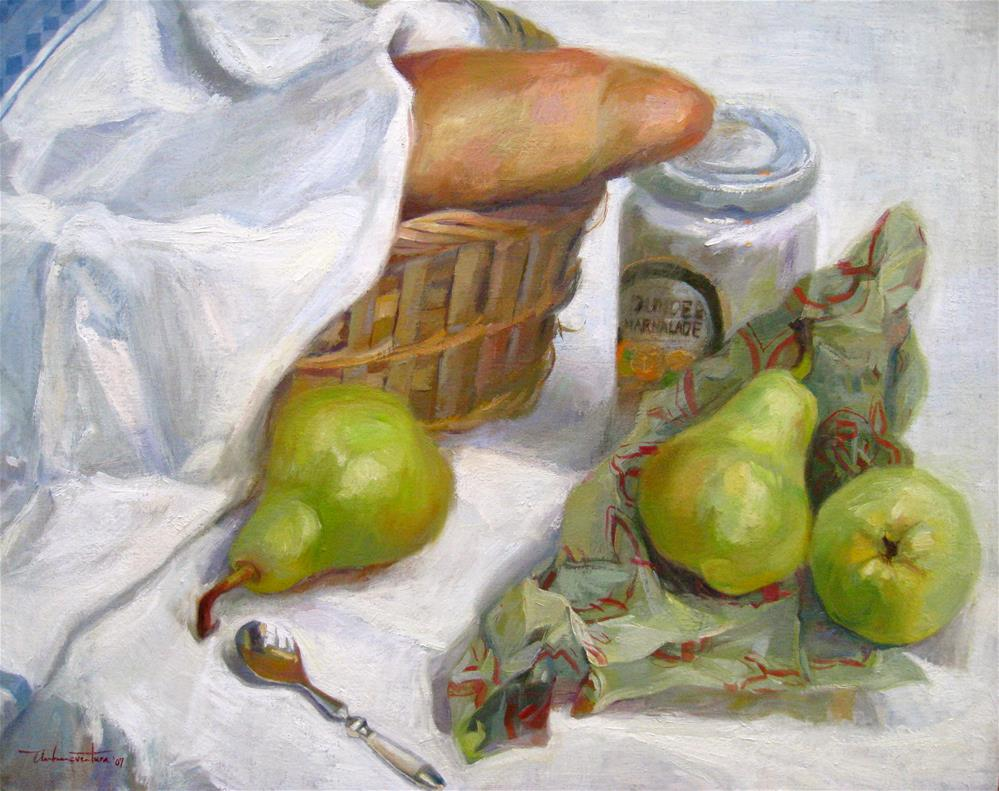 """Still Life of Pears and Jam"" original fine art by Ann Buenaventura"
