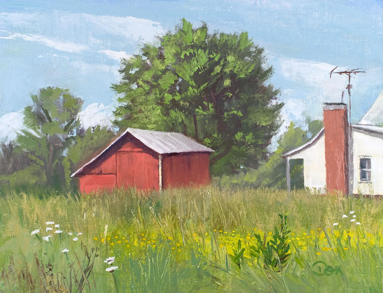 """Smokehouse Field"" original fine art by Don Stewart"