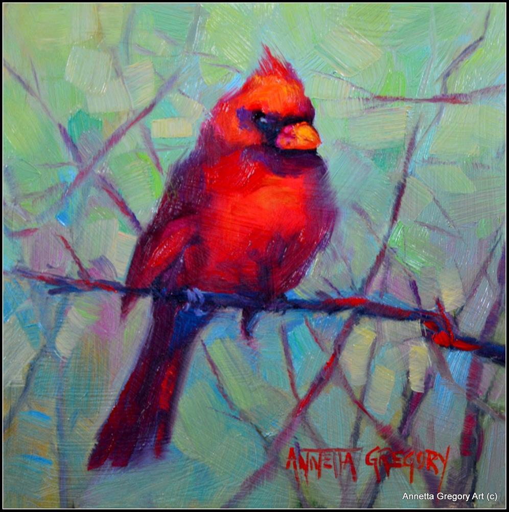 """Kristy's Cardinal"" original fine art by Annetta Gregory"