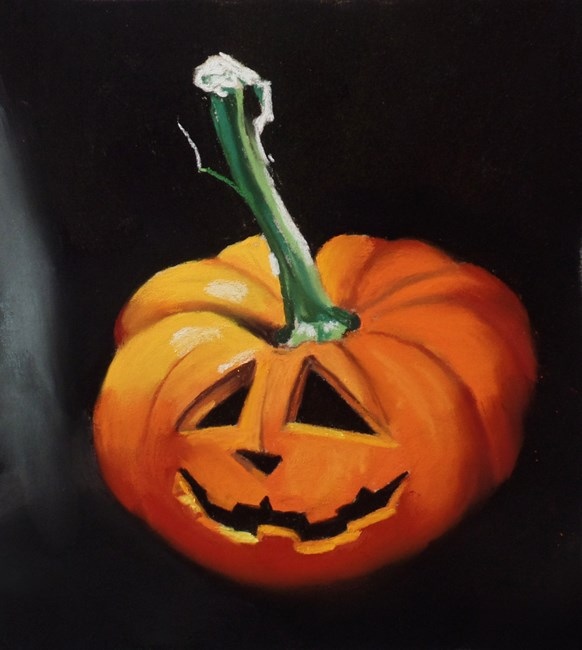 """Pumpkin painting and instructional video"" original fine art by Ria Hills"