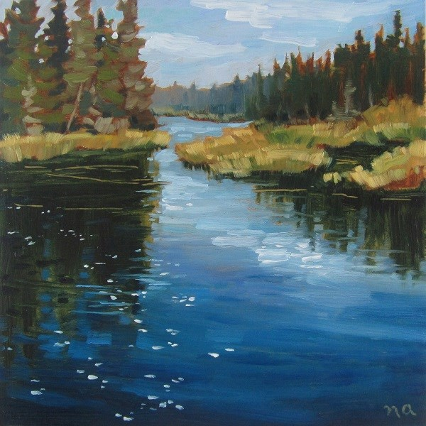 """Shimmer, Waskesiu River"" original fine art by Nicki Ault"