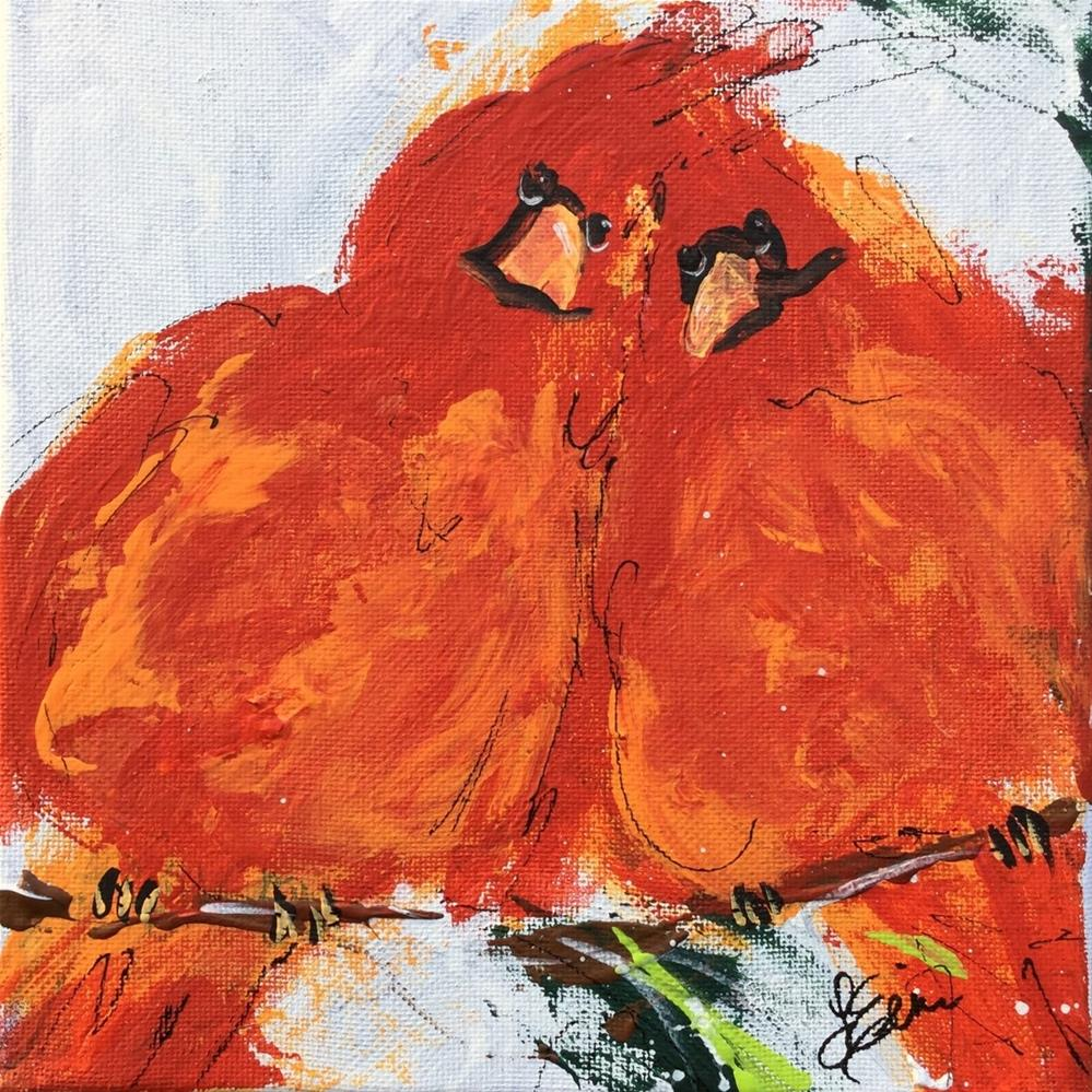 """Cardinal Pair"" original fine art by Terri Einer"