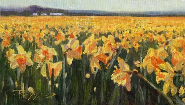 """Daffodil Farm  LaConnor flower field, landscape painting by Robin WeissDaffodil"" original fine art by Robin Weiss"