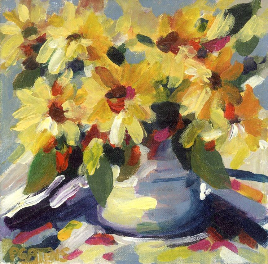 """Sunflowers for Sale"" original fine art by Pamela Gatens"