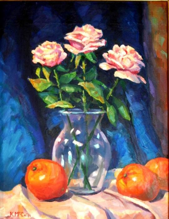 """Oranges and Roses"" original fine art by K.R. McCain"