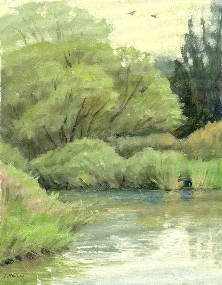 """Swallows at Cattail Pond"" original fine art by Kath Reilly"