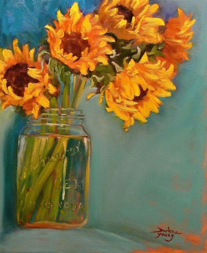 """Sun Flowers in a Jar"" original fine art by Darlene Young"