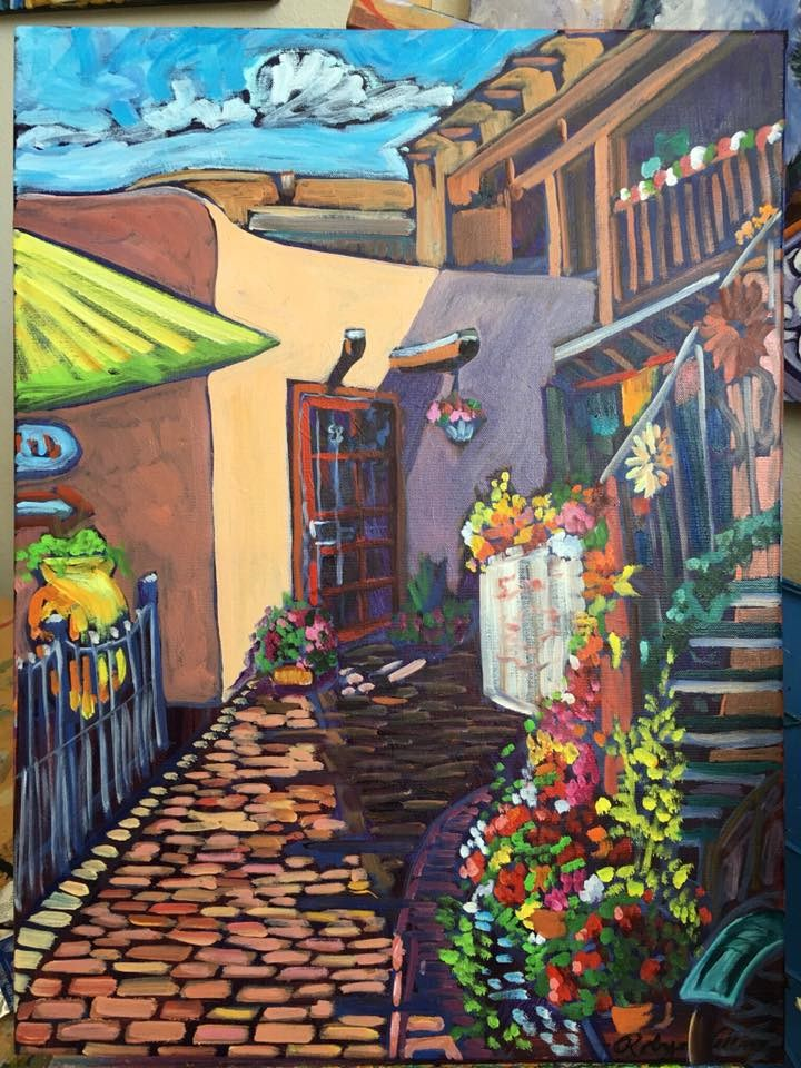 """Entrance to Quesadilla Grill Old Town NM"" original fine art by Robyn Wellman"
