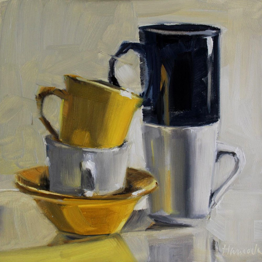 """Yellow Black White Cup Stack"" original fine art by Gretchen Hancock"