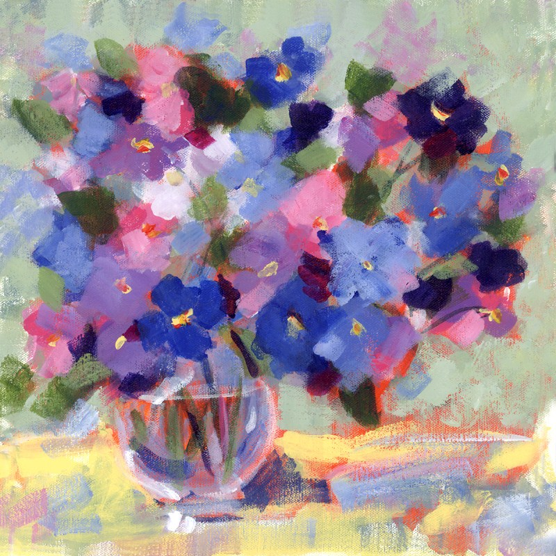 """Blue Pansies"" original fine art by Pamela Gatens"