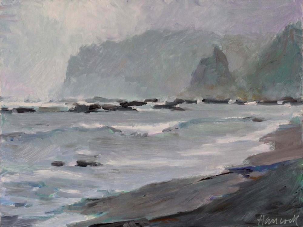 """Rainy Day Sea Stacks"" original fine art by Gretchen Hancock"