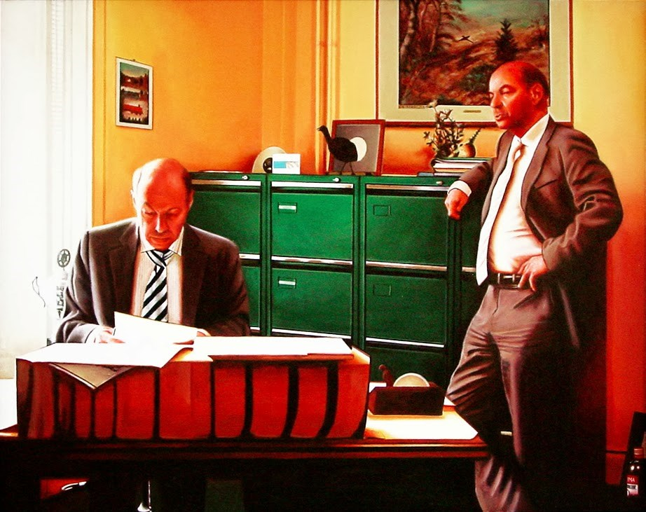 """Office- Painting Of Two Lawyers In Their Office"" original fine art by Gerard Boersma"