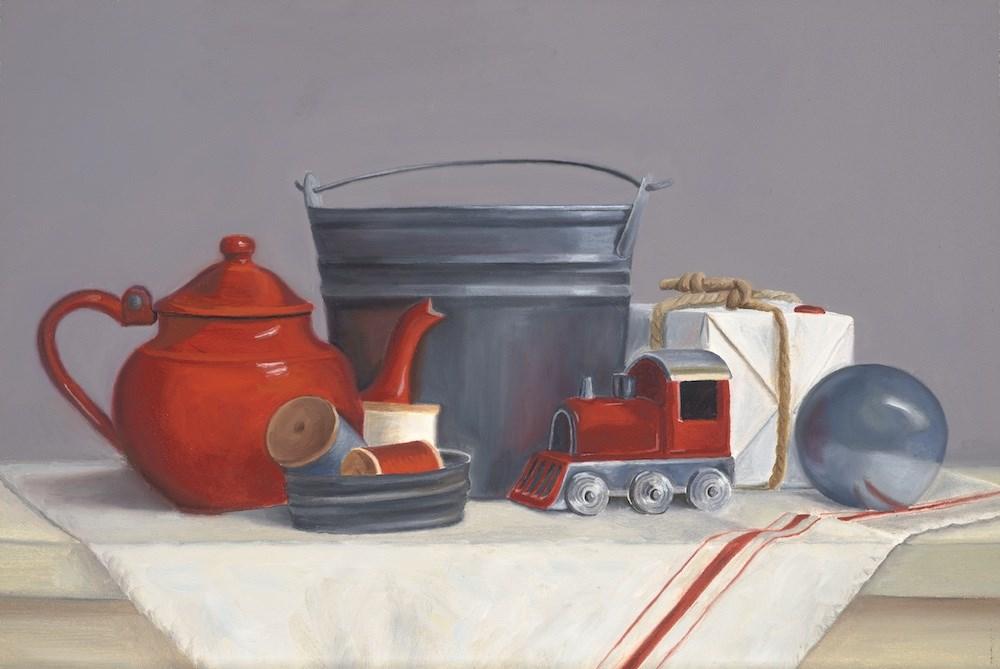 """The Red Caboose"" original fine art by Susan Fern"