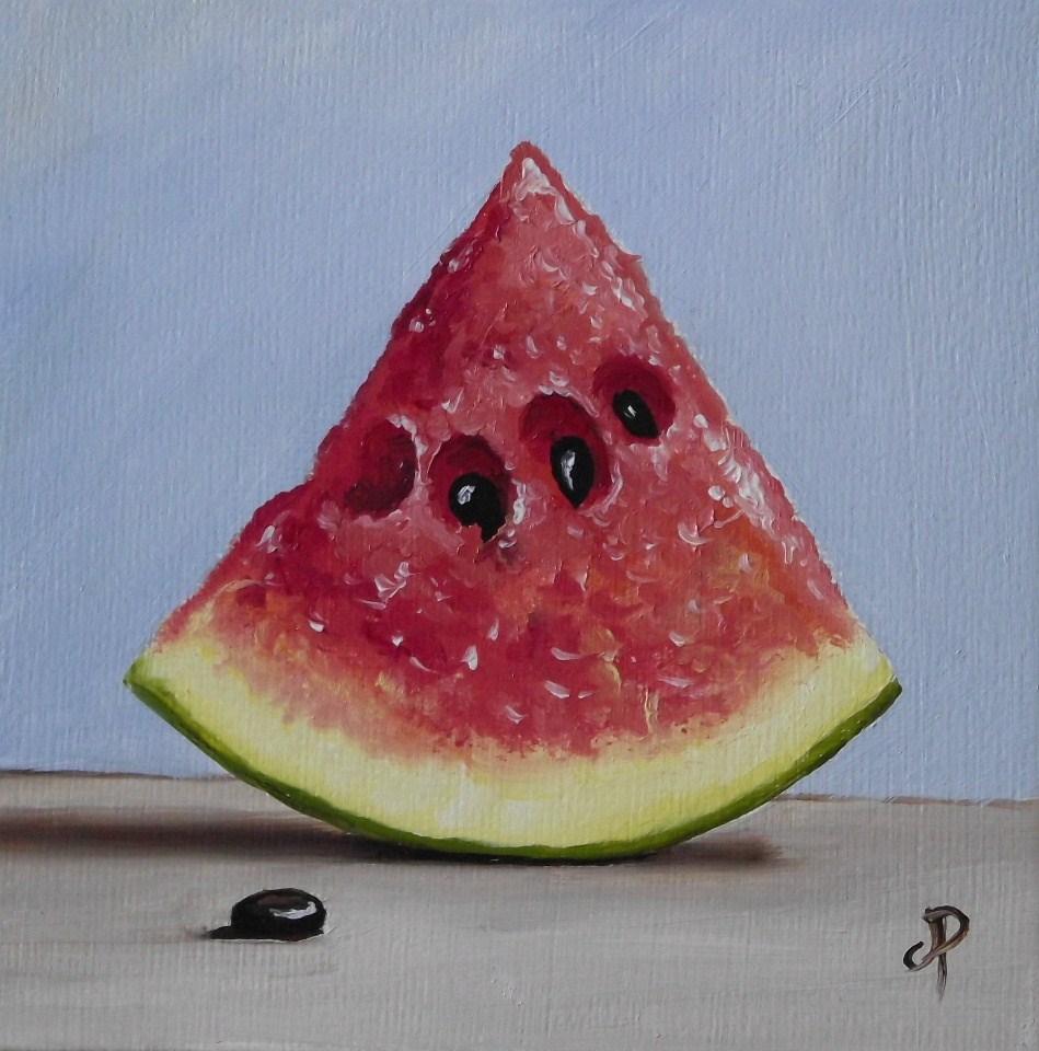 """Little watermelon slice"" original fine art by Jane Palmer"