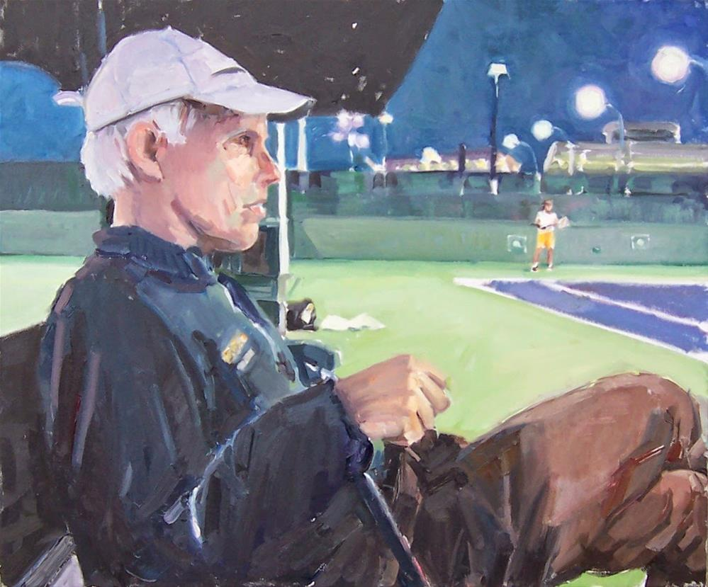 """Steve,Tennis Coach,figure,oil on canvas,20x24,priceNFS"" original fine art by Joy Olney"