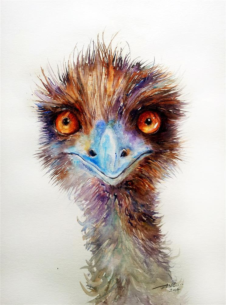 """Dark Chocolate Emu"" original fine art by Arti Chauhan"