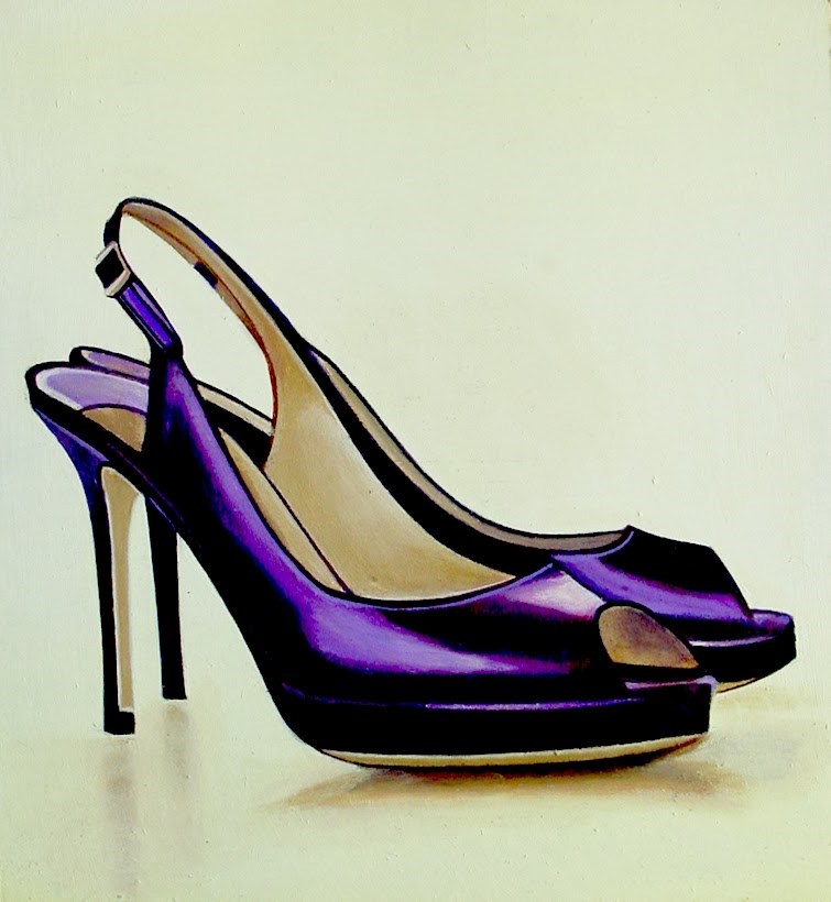 """Jimmy Choo 4- Still Life Painting Of Purple Open Toe Shoe"" original fine art by Gerard Boersma"