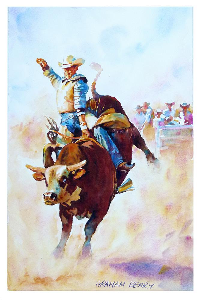 """Riding the bull."" original fine art by Graham Berry"