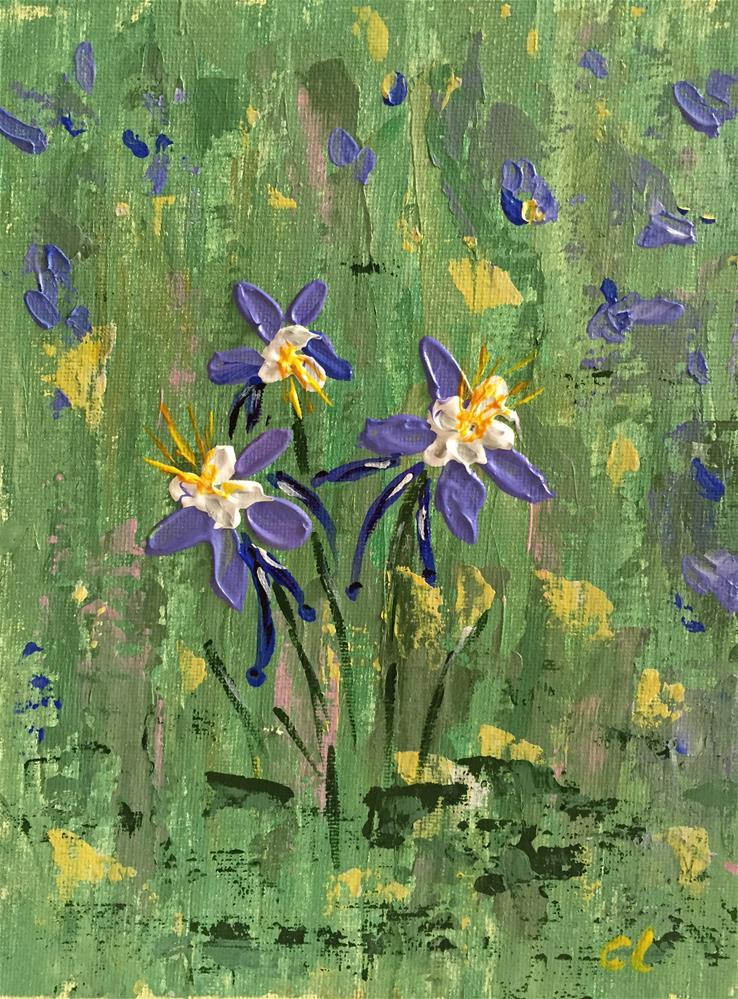 """Columbines gone wild"" original fine art by Cheree Apalona Lueck"
