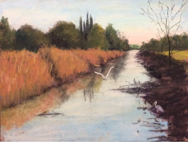 """FISHING IN THE CANAL"" original fine art by Marti Walker"