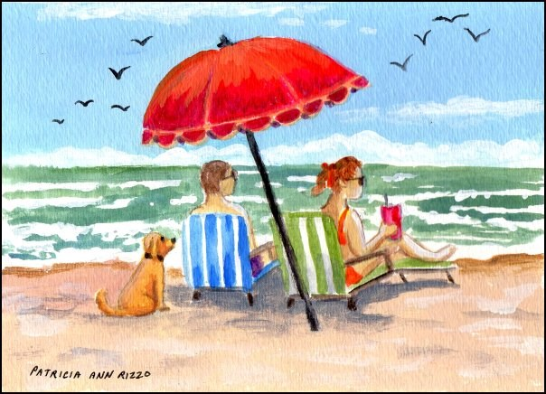 """Beach Chairs"" original fine art by Patricia Ann Rizzo"