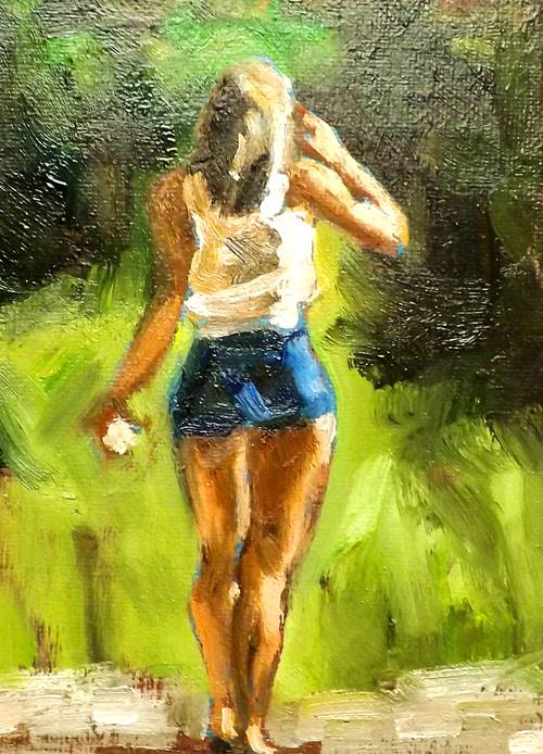 """Walking,U21"" original fine art by Run-      Zhang Zane"