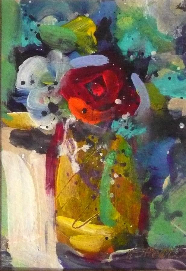 """One Red Rose #5 11077"" original fine art by Nancy Standlee"