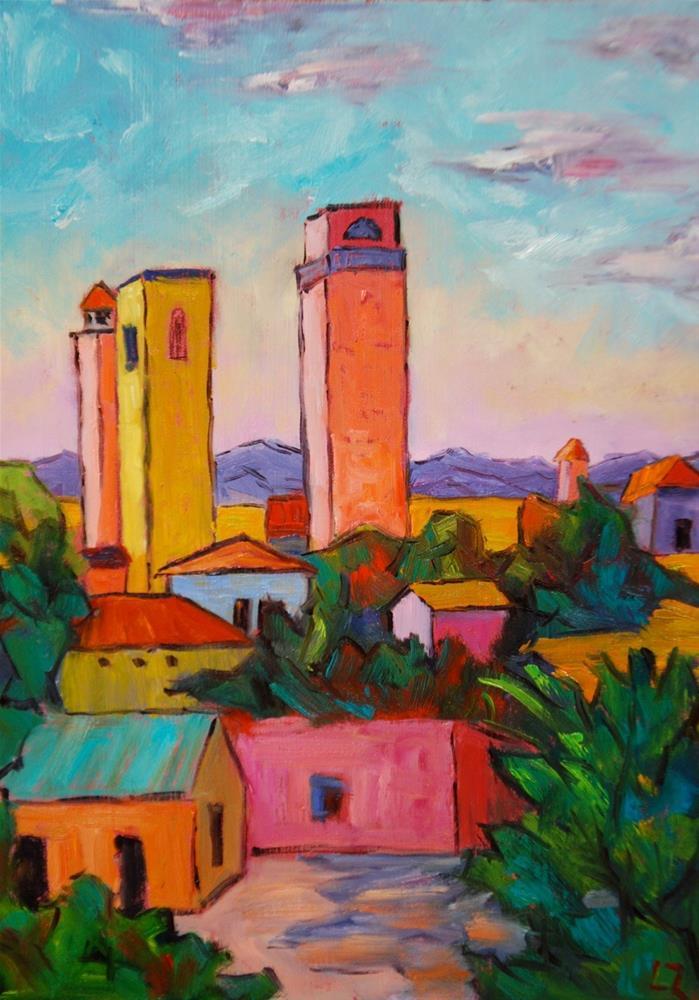 """Tuscan Towers"" original fine art by Liz Zornes"