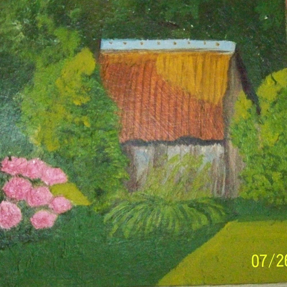 """""""The Neighbor's Shed"""" original fine art by Elaine Shortall"""
