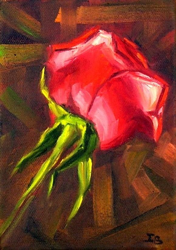 """Red Rose Study"" original fine art by Irina Beskina"