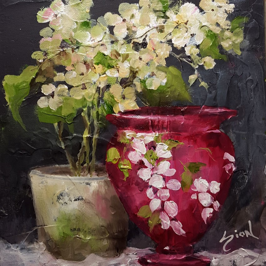 """Fenton and Hydrangea"" original fine art by Sue Dion"