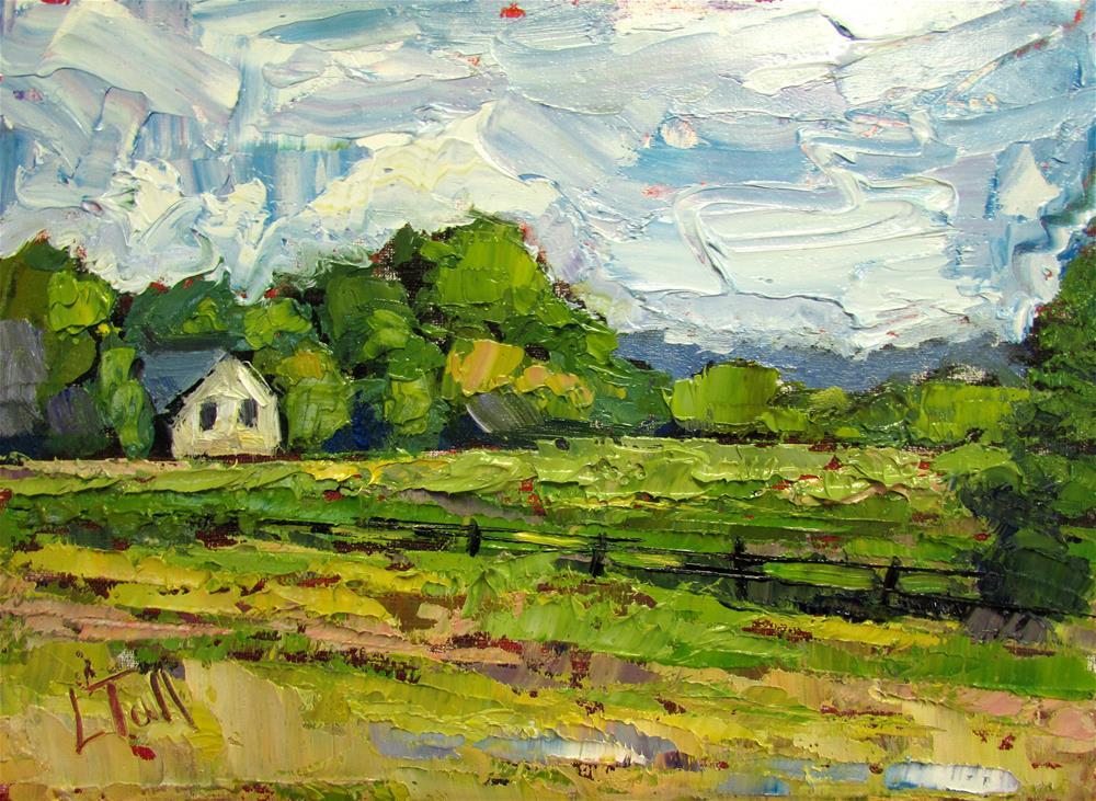 """Little White House Along Highway, Wisconsin"" original fine art by Lindsey Elizabeth Tull"