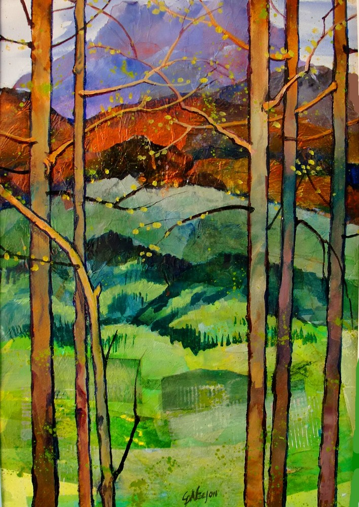 """SPRING IN THE ROCKIES 12050,  acrylic landscape tree collage © Carol Nelson Fine Art"" original fine art by Carol. Nelson"