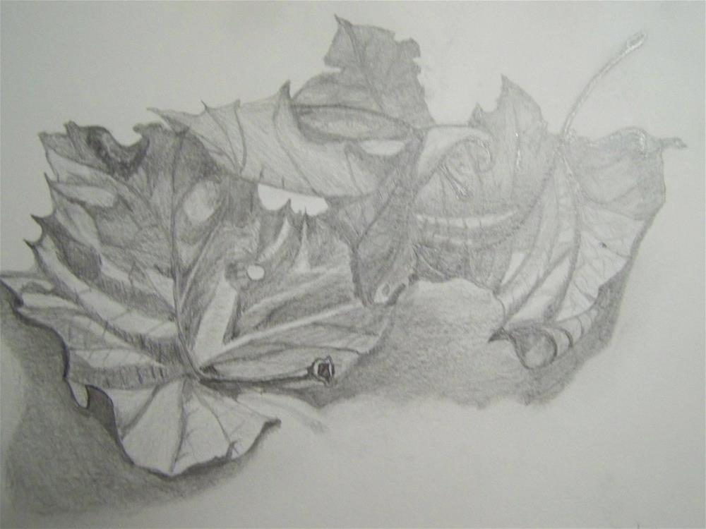 """Dry Leaves Study"" original fine art by Elaine Shortall"
