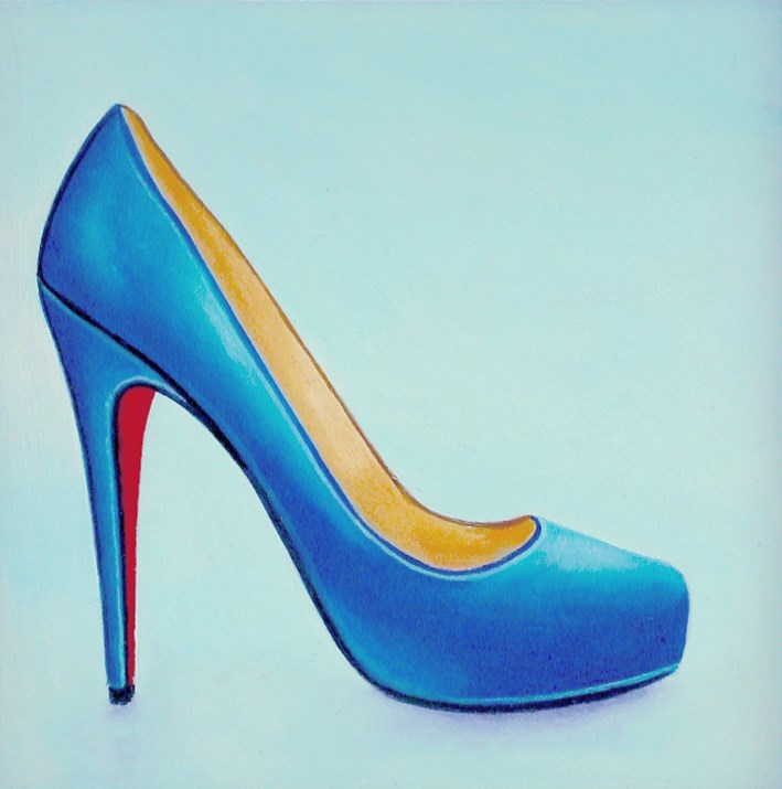 """Christian Louboutin 17- Still Life Painting Of Blue Christian Louboutin Shoe"" original fine art by Gerard Boersma"